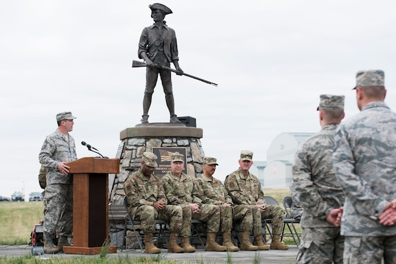 Chief Master Sgt. Troy Brawner, 167th Airlift Wing Command Chief Master Sgt., speaks during his assumption of responsibility ceremony at the 167th AW, April 7, 2019. Brawner took over the role of wing command chief from Command Chief Master Sgt. David Stevens, who recently moved into the role as the command chief for the West Virginia Air National Guard. (U.S. Air National Guard photo by Tech. Sgt. Jodie Witmer)