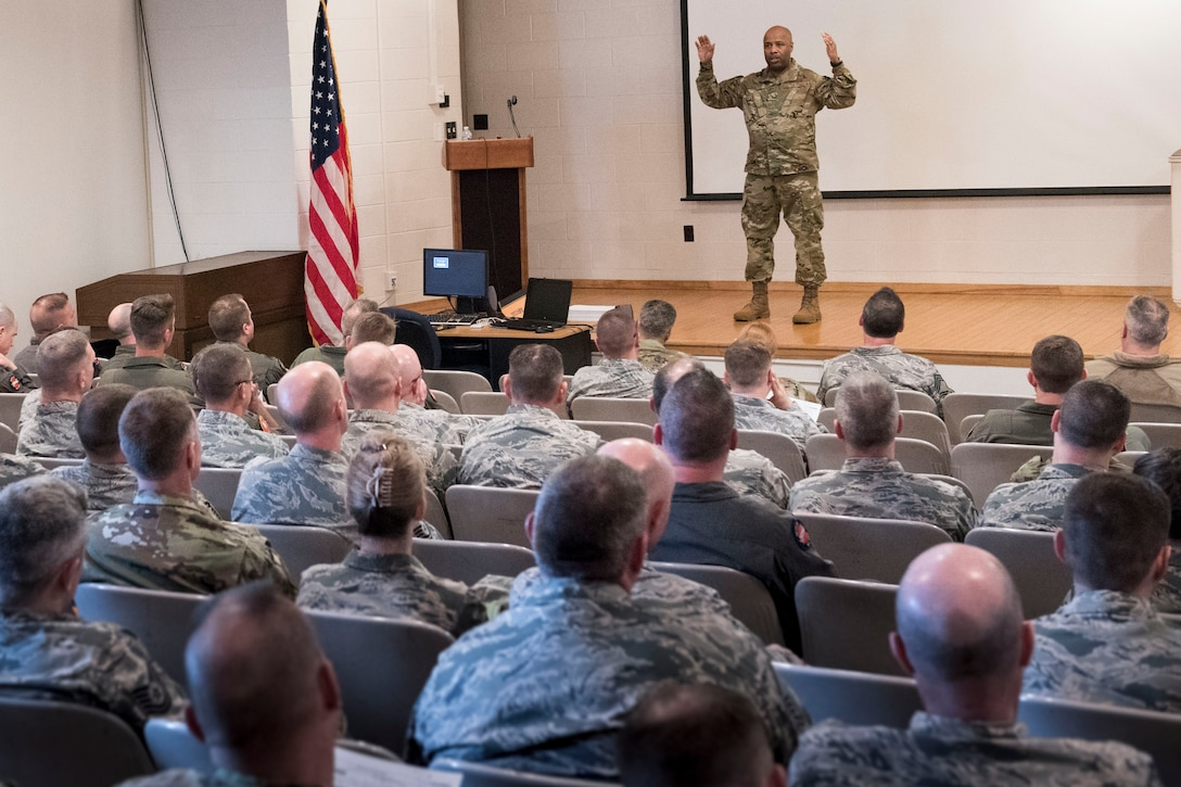 Brig. Gen. Christopher Walker, the West Virginia National Guard's Assistant Adjutant General- Air, addresses officers and supervisors at the 167th Airlift Wing, April 7, 2019. Walker discussed his vision and expectations of the wing, as well as the wing's role in support of the National Defense Strategy. (U.S. Air National Guard photo by Tech. Sgt. Jodie Witmer)