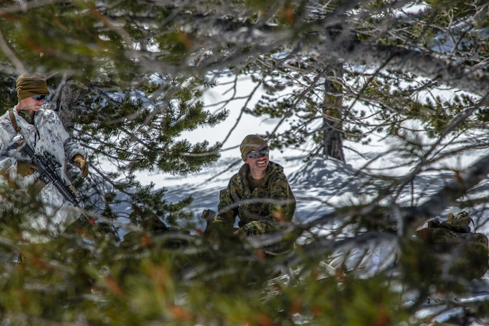 U.S Marines with Company G, 1st Battalion, 6th Marine Regiment, 2nd Marine Division, take a break in training, during Mountain Training Exercise (MTX) 2-19, at Marine Corps Mountain Warfare Training Center, Bridgeport, Calif., March 24, 2019.  The purpose of MTX is to prepare Marines for harsh weather conditions while enhancing winter warfare skills in cold weather environments. (U.S. Marine Corps photo by Pfc. Christy Yost)