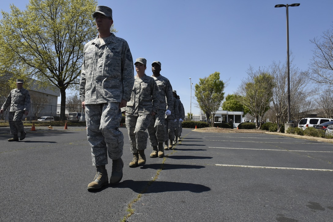 Airmen from the newly graduated 145th Airlift Wing Honor team practice drill and ceremony movements in preparation for upcoming ceremonies and events, while at the North Carolina Air National Guard Base, Charlotte Douglas International Airport, April 04, 2019. The Air Force Honor Guard is a group of military professionals that represent Airmen to the American public and the world, while maintaining a high standard, a flawless image, and preserving the heritage of our Nations military.