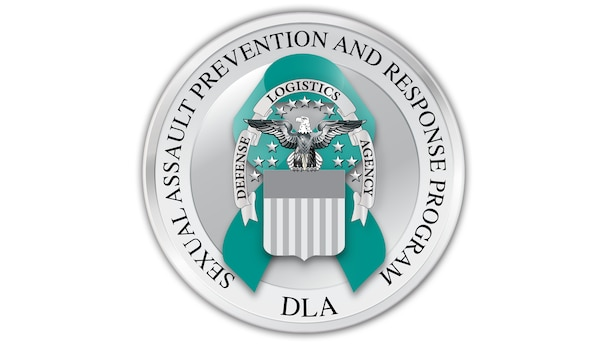 "The DLA SAPR emblem is a sliver coin and a silver DLA emblem over a teal ribbon encircled by the words ""DLA Sexual Assault Prevention and Response Program"""