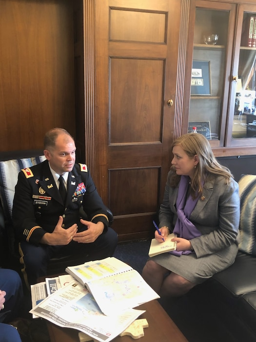 Col. Lars Zetterstrom, Galveston District commander takes time to visit with Rep. Lizzie Fletcher during an April 4th meeting in Washington D.C.  Fletcher was able to learn more about the Buffalo Bayou Tributaries and Resiliency Study public meetings.  Five public meetings are scheduled in Houston for late April and early May. The study begins the first steps in exploring a possible third reservoir, tunneling and increasing capacity through excavation to reduce flooding in and around the Addicks and Barker Reservoirs.  District senior leaders met with 16 southeast and south Texas representatives from April 1-5 during Texas Water Days.
