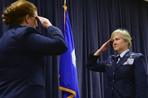 U.S. Air Force Col. Carla Riner, the new wing commander for the 166th Airlift Wing, salutes Assistant Adjutant General for the Delaware Air National Guard Brig. Gen. Wendy Wenke after assuming command April 6, 2019 at the Delaware Air National Guard Base, Del. Riner's previous assignment was with the West Virginia National Guard, and is the first female wing commander for the 166th AW. (U.S. Air Force Photo by Staff Sgt. Nathan Bright)