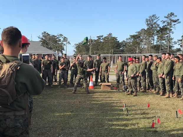 On March 14, 2019 Marine Corps Engineer School (MCES) hosted the annual St. Patrick's Day Engineer Field Meet to pay homage to St. Patrick, the patron saint for engineers; build camaraderie amongst the engineer and utility communities, and compete for the Engineer Field Meet Trophy. The Blarney Stone Toss is a test of strength and Marines hurl a 40 pound stone to see who can throw it the farthest.