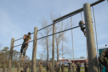 On March 14, 2019 Marine Corps Engineer School (MCES) hosted the annual St. Patrick's Day Engineer Field Meet to pay homage to St. Patrick, the patron saint for engineers; build camaraderie amongst the engineer and utility communities, and compete for the Engineer Field Meet Trophy. Teams of Marines compete in the Obstacle Course Relay to see who can run all their Marines through the Obstacle Course the fastest.