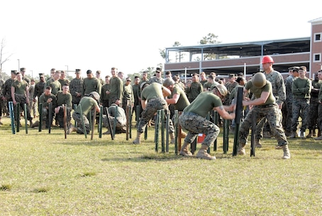 On March 14, 2019 Marine Corps Engineer School (MCES) hosted the annual St. Patrick's Day Engineer Field Meet to pay homage to St. Patrick, the patron saint for engineers; build camaraderie amongst the engineer and utility communities, and compete for the Engineer Field Meet Trophy. Teams of Marines compete in the Engineer Stake Driving Relay.