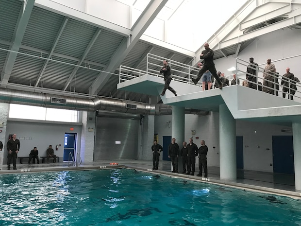 On March 22, 2019 MCES permanent personnel were given the opportunity to upgrade or renew expired swim qualifications at the Courthouse Bay Training Tank and over sixty Marines took advantage of the opportunity.  All Marines that attempted Basic and Intermediate, passed.