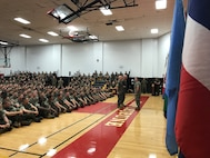 On April 5, 2019 a modified Relief and Appointment Ceremony was held in the Courthouse Bay Gym between Sergeant Major Jason E. Haney (outgoing MCES SgtMaj) and Sergeant Major Lance M. Oufnac (incoming MCES SgtMaj).