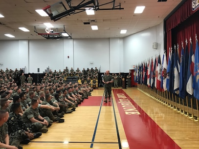 On April 5, 2019 a modified Relief and Appointment Ceremony was held in the Courthouse Bay Gym between Sergeant Major Jason E. Haney (outgoing MCES SgtMaj) and Sergeant Major Lance M. Oufnac (incoming MCES SgtMaj). SgtMaj Oufnac delivers his remarks to the Marines, civilians, contractors, friends, and family in attendance.