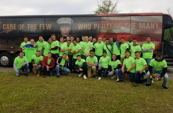On April 6, 2019 students from Utilities Instruction Company (UIC) volunteered at the 14th Annual Hope for the Warriors Run through Jacksonville, N. C. The run is dedicated to the men and women injured in Iraq and Afghanistan, their families, and families of the fallen.  Transportation was provided for the Marines by the Single Marine Program.