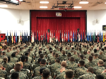 On April 5, 2019 a modified Relief and Appointment Ceremony was held in the Courthouse Bay Gym between Sergeant Major Jason E. Haney (outgoing MCES SgtMaj) and Sergeant Major Lance M. Oufnac (incoming MCES SgtMaj). SgtMaj Haney speaks to those in attendance.