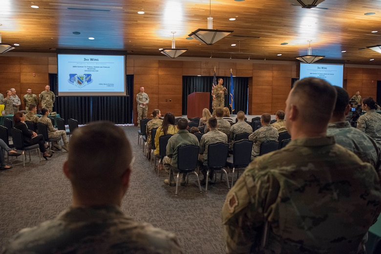 U.S. Air Force Col. Robert D. Davis, 3rd Wing commander, speaks during a welcome reception at Joint Base Elmendorf-Richardson, Alaska, April 8, 2019. The JBER Support to Tyndall Airmen and Families Reception was a one-stop information fair connecting them with the appropriate agencies to address their immediate and specific needs and to learn more about services they offer.