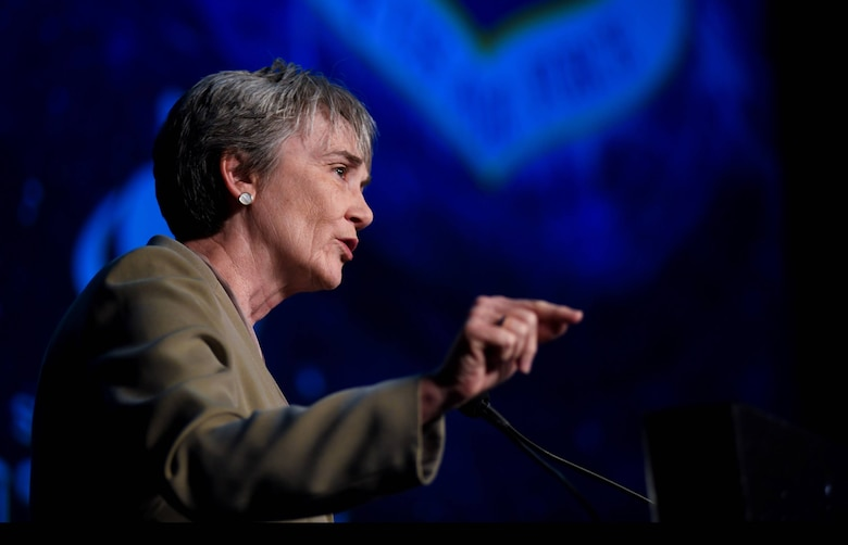 "Secretary of the Air Force Heather Wilson emphasized the importance of the U.S. maintaining its dominance in space during a speech April 9, 2019, at the 35th Space Symposium in Colorado Springs, Colo. ""America is the best in the world at space, and our adversaries know it,"" she said. (U.S. Air Force photo by Airman 1st Class Michael Mathews)"
