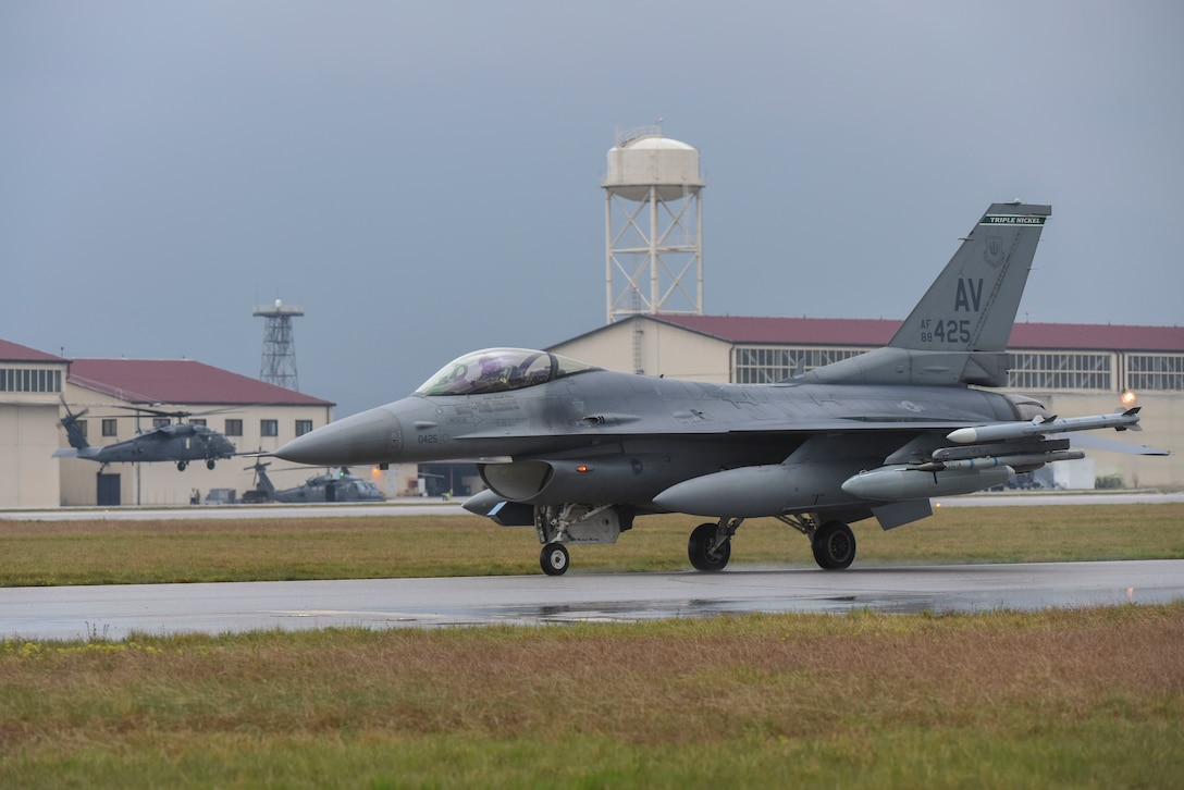 An F-16C Fighting Falcon from the 555th Fighter Squadron returns from African Lion 19 on April 4, 2019 at Aviano Air Base, Italy. African Lion 2019 is an annual, combined multilateral exercise designed to improve interoperability and mutual understanding of each nations' tactics, techniques and procedures while demonstrating the strong bond between the nations' militaries. (U.S. Air Force photo by Senior Airman Valerie Halbert)