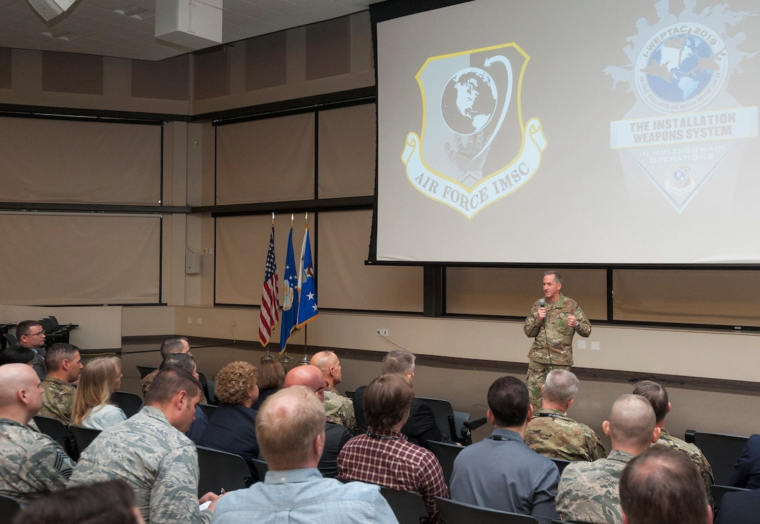 Air Force Chief of Staff Gen. David L. Goldfein fields a question from an attendee April 8 following briefings at the Installation and Mission Support Weapons and Tactics Conference at Joint Base San Antonio-Lackland, Texas.