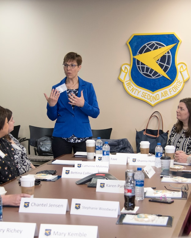 Jill La Fave, 22nd Air Force senior spouse, talks to fellow key spouses from across 22nd Air Force at Dobbins Air Reserve Base, Georgia, April 3, 2019.