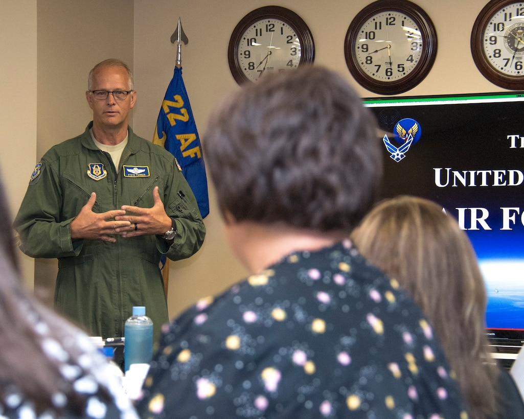 Brig. Gen. Steven Parker, 22nd Air Force vice commander, gives a briefing on the structure of the Air Force Reserve to key spouses from across 22nd Air Force at Dobbins Air Reserve Base, Georgia, April 3, 2019.