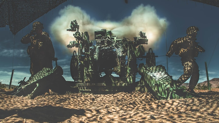 U.S. Marines with 3rd Battalion, 11th Marine Regiment, 1st Marine Division conduct fire missions with the M777 Howitzer at Marine Corps Air Ground Combat Center, Twentynine Palms, Calif., April. 4, 2019. The MCAGCC's training areas provided an opportunity for the unit to bolster their combat capabilities in a desert environment in preparation for potential global contingencies.