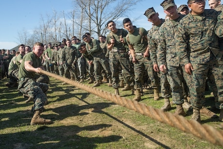 U.S. Marines with 8th Engineer Support Battalion, 2nd Marine Logistics Group, compete in the tug of war portion of the Marine Corps Engineer School Saint Patrick's Day Field Meet on Camp Lejeune, North Carolina, March 14, 2019. Marines competed in the field meet to strengthen community and camaraderie in the spirit of friendly competition.