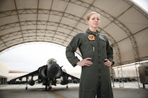 U.S. Marine Corps Capt. Kelsey Casey stands in front of an AV-8B Harrier at Marine Corps Air Station Yuma, Arizona, March 27, 2019. Casey, 30, is from San Francisco and is a 2011 graduate of San Francisco State University. She is the only female AV-8B Harrier pilot in the Marine Corps.