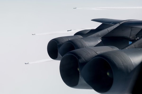 Five B-52 Stratofortresses deployed from Barksdale Air Force Base, La., fly a sortie over Norway, March 28, 2019.