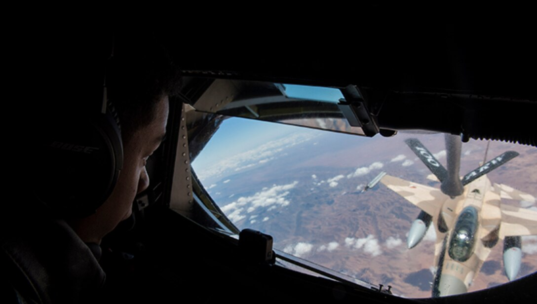 U.S. Air Force Senior Airman Justin Pauleon, a 351st Air Refueling Squadron boom operator, conducts an air-refueling mission during exercise African Lion 2019 over the skies of Morocco, April 1, 2019. The exercise was designed to strengthen U.S. relationships with regional partners which is key to shaping the future security environment. African Lion 2019 is an annual, combined multilateral exercises designed to improve interoperability and mutual understanding of each nation's tactics, techniques and procedures while demonstrating a strong partnership between nation's militaries. (U.S. Air Force photo by Staff Sgt. Ceaira Tinsley)