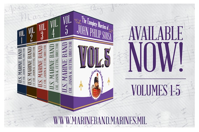 "The President's Own"" United States Marine Band is pleased to announce the release of its fifth volume of ""The Complete Marches of John Philip Sousa."" This multi-year recording project, initiated by Director Col. Jason K. Fettig, is the Marine Band's first comprehensive collection of Sousa's marches since the 1970s. The collection is in chronological order, and Volume 5 contains 20 marches, covering the years 1917 to 1922, a period that saw the end of World War I and produced such popular marches as ""Bullets and Bayonets,"" ""Sabre and Spurs,"" and ""The Gallant Seventh.""