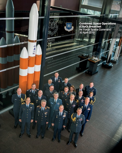 Air Chiefs and senior space officials from Australia, Canada, France, Germany, New Zealand, the United Kingdom, and the United States held a meeting at Headquarters Air Force Space Command to discuss the future of the Combined Space Operations (CSpO) initiative April 10, 2019.