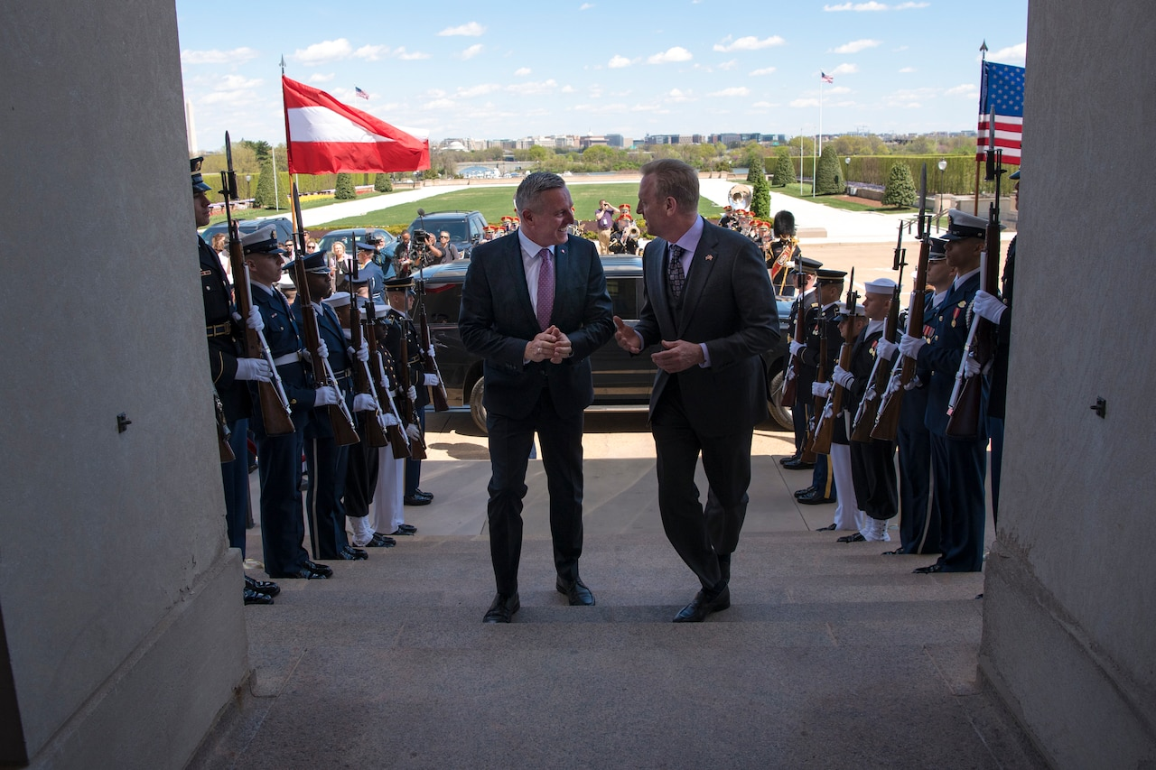 Acting Defense Secretary Patrick M. Shanahan walks up steps with the Austrian defense minister; service members stand on either side.