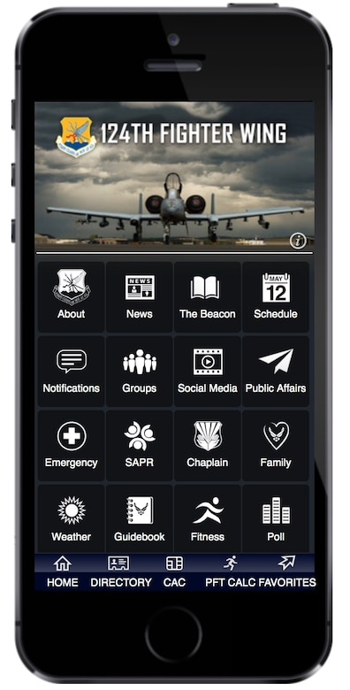 Screenshot of the USAF Connect, 124th Fighter Wing favorite screen