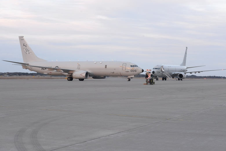 "A P-8A Poseidon aircraft assigned to the ""Fighting Tigers"" of Patrol Squadron (VP) 8, taxis on the flight line of Misawa Air Base after a Search and Rescue mission for a missing Japanese F-35 fighter jet Pilot. VP-8 is deployed to the U.S. 7th Fleet (C7F) area of operations conducting maritime patrol and reconnaissance operations in support of Commander, Task Force 72, C7F, and U.S. Pacific Command objectives throughout the Indo-Asia Pacific region."