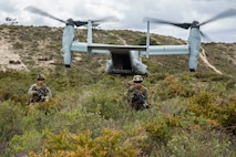 U.S. Marines with Special Purpose Marine Air-Ground Task Force-Crisis Response-Africa 19.2, Marine Forces Europe and Africa, post security during a Tactical Recovery of Aircraft and Personnel exercise in Troia, Portugal, April 5, 2019. SPMAGTF-CR-AF is deployed to conduct crisis-response and theater-security operations in Africa and promote regional stability by conducting military-to-military training exercises throughout Europe and Africa. (U.S. Marine Corps photo by Cpl. Margaret Gale)