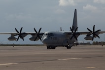 A U.S. Marine Corps KC-130J Super Hercules taxis at Naval Air Station Sigonella, Italy, April 6, 2019. The aircraft transported Marines and equipment with the aviation combat element for Special Purpose Marine Air-Ground Task Force-Crisis Response-Africa 19.2, Marine Forces Europe and Africa. SPMAGTF-CR-AF provides an autonomous, self-deploying, and highly mobile crisis response force to U.S. AFRICOM. The aircraft is with Marine Aerial Refueler Transport Squadron 252. (U.S. Marine Corps photo by Staff Sgt. Mark E Morrow Jr)
