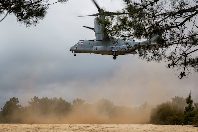 An MV-22B Osprey with Special Purpose Marine Air-Ground Task Force-Crisis Response-Africa 19.2, Marine Forces Europe and Africa, lands during a Tactical Recovery of Aircraft and Personnel exercise in Troia, Portugal, April 5, 2019. SPMAGTF-CR-AF is deployed to conduct crisis-response and theater-security operations in Africa and promote regional stability by conducting military-to-military training exercises throughout Europe and Africa. (U.S. Marine Corps photo by Cpl. Margaret Gale)