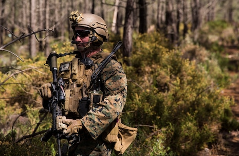 A U.S. Marine with Special Purpose Marine Air-Ground Task Force-Crisis Response-Africa 19.2, Marine Forces Europe and Africa, posts security during a Tactical Recovery of Aircraft and Personnel exercise in Troia, Portugal, April 5, 2019. SPMAGTF-CR-AF is deployed to conduct crisis-response and theater-security operations in Africa and promote regional stability by conducting military-to-military training exercises throughout Europe and Africa. (U.S. Marine Corps photo by Cpl. Margaret Gale)