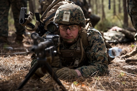 A U.S. Marine with Special Purpose Marine Air-Ground Task Force-Crisis Response-Africa 19.2, Marine Forces Europe and Africa, posts security during a Tactical Recovery of Aircraft and Personnel training exercise in Troia, Portugal, April 5, 2019. SPMAGTF-CR-AF is deployed to conduct crisis-response and theater-security operations in Africa and promote regional stability by conducting military-to-military training exercises throughout Europe and Africa. (U.S. Marine Corps photo by Cpl. Margaret Gale)