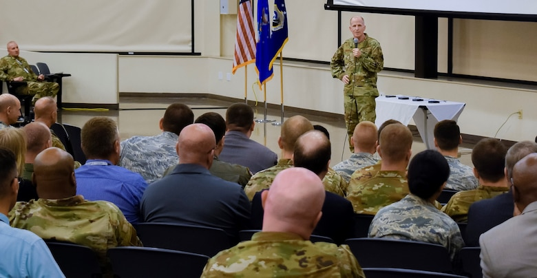 Air Force Vice Chief of Staff Gen. Steven W. Wilson provides closing remarks at the conclusion of the AFIMSC Installation and Mission Support Weapons and Tactics Conference April 10 at Joint Base San Antonio-Lackland. (U.S. Air Force photo by Armando Perez)