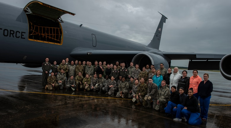 U.S. Airmen from the 20th Medical Group pose for a photo after training under the 914th Air Reserve Wing, Aeromedical Evacuation Squadron (AES), at Shaw Air Force Base, S.C., April 9, 2019.