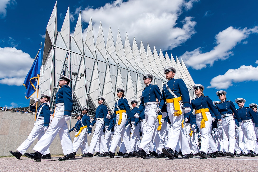 Air Force cadets march in formation.