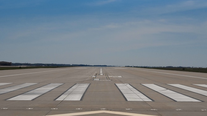 The flightline at McConnell Air Force Base, Kan., awaits for an aircraft to land April 9, 2019. The runway is 12,000 feet long allowing aircraft to land on McConnell. (U.S. Air Force photo by Airman 1st Class Alexi Myrick)