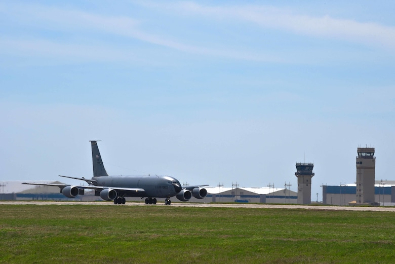 A KC-135 Stratotanker lands April 9, 2019, at McConnell Air Force Base, Kan. The KC-135 provides the core aerial refueling capability for the U.S. Air Force and has excelled in this role for more than 60 years. (U.S. Air Force photo by Airman 1st Class Alexi Myrick)