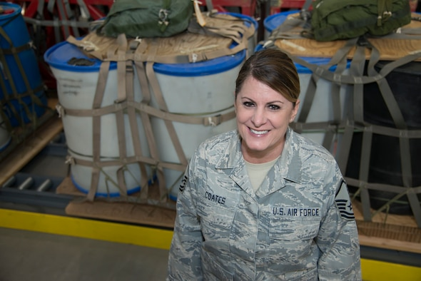 Master Sgt. Kim Coates stands inside the 39th Aerial Port Squadron's cargo bay downstairs from her office at Peterson Air Force Base, Colorado, March 27, 2019.
