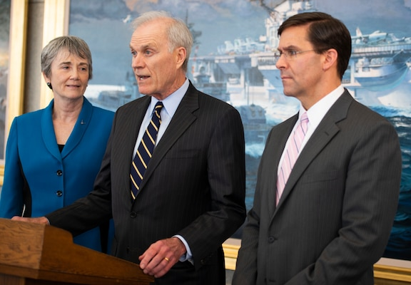 Secretary of the Navy Richard Spencer, flanked by Secretary of the Air Force Heather Wilson and Secretary of the Army Mark Esper, address members of the media to discuss prevention efforts against incidents of sexual assault and harassment in the Naval Academy's Alumni Hall, April 4.