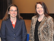 IMAGE: DAHLGREN, Va. (March 26, 2019) – Melanie Lunney, NSWC Dahlgren Division Federal Women's Program Manager, meets with Amy Markowich, SES, – director of the Integrated Battlespace Simulation and Test Department at the Naval Air Systems Command – who was the keynote speaker at Dahlgren's 2019 Women's History Month Observance
