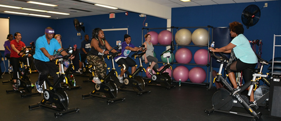 Spin Instructor leads class