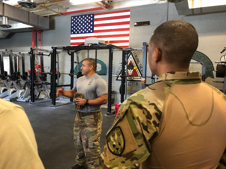 Instructors from the 66th Training Squadron's Survival, Evasion, Resistance and Escape cadre at Joint Base San Antonio-Lackland showcase their knowledge to recruiters from the 330th Recruiting Squadron during an immersion tour March 28, 2019. The recruiters travelled from locations across the United States to get a better understanding of the career field and experience the training a candidate must complete to become a SERE specialist.