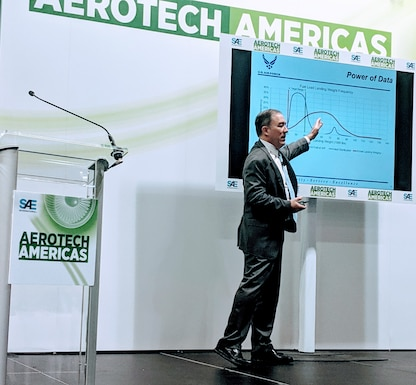 Mr. Roberto Guerrero, Deputy Assistant Secretary of Air Force Operational Energy presents at Aerotech Americas on March 27, 2019 in Charleston, S.C.