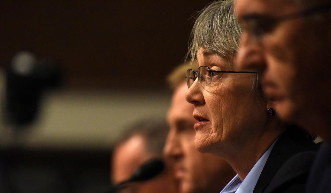 Secretary of the Air Force Heather Wilson testifies on the proposal to establish a United States Space Force during a Senate Armed Services Committee hearing  in Washington, D.C., April 11, 2019.