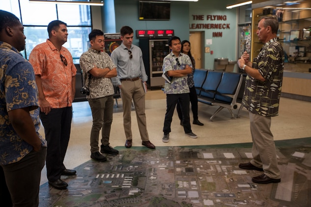 Staff delegates from the offices of U.S. Reps. Colleen Hanabusa (D-HI) and Tulsi Gabbard (D-HI) tour Marine Corps Base Hawaii July 14, 2018.