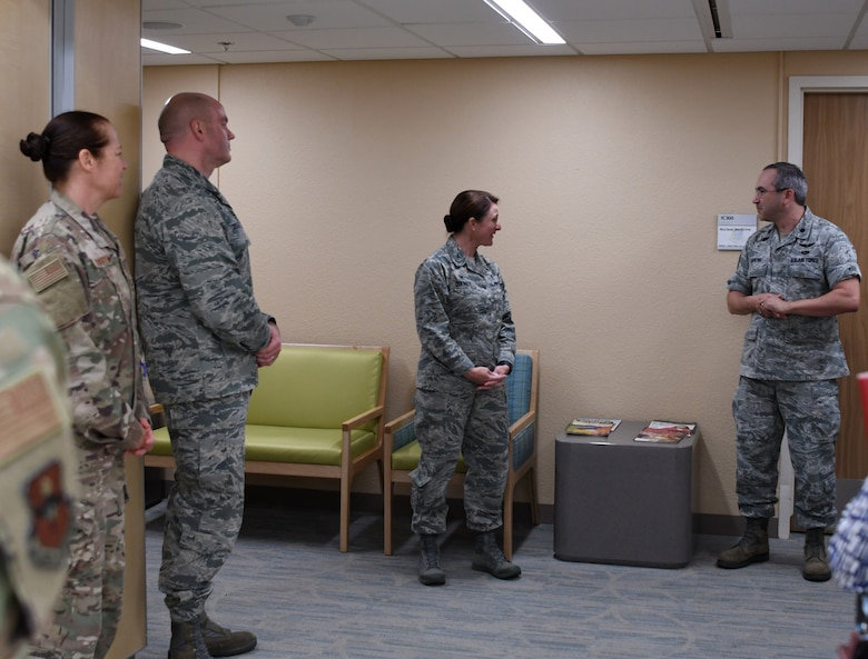 U.S. Air Force Lt. Col. Matthew Barchie, 81st Diagnostic and Therapeutics Squadron diagnostic imaging medical director, makes remarks before the ribbon cutting ceremony inside the Keesler Medical Center on Keesler Air Force Base, Mississippi, April 10, 2019. The Radiology Oncology Clinic received a Positron Emission Tomography and Computer Tomography scanner as well as an Interventional Radiology Program, which will improve patient care. (U.S. Air Force photo by Senior Airman Suzie Plotnikov)
